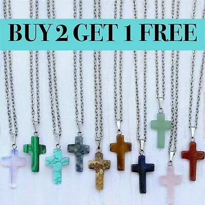 Silver Plated CROSS Gemstone Necklace Stone Crystal Quartz Pendant Chakra Healin