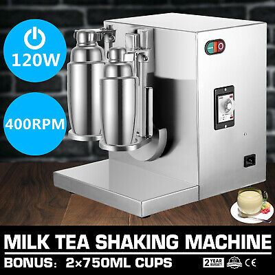 220V Bubble Boba Pearl Tea Milk Shaker 360° Rotation Mute Double-Frame Auto