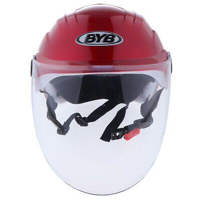 1PC Motorcycle Dirt Bike Half Face Red Helmet Cap and Clear Visor UV Goggle