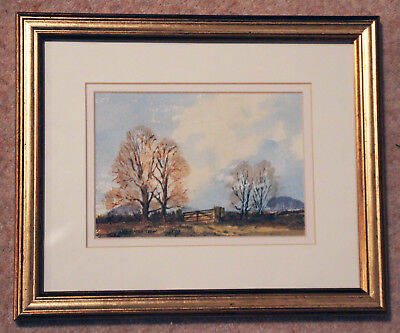 Beautiful original signed watercolour by James Trew 'Autumn on The Downs'
