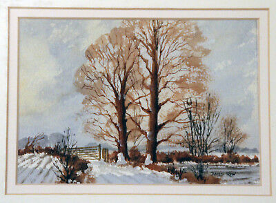 Beautiful original signed watercolour by James Trew 'Winter on The Downs'