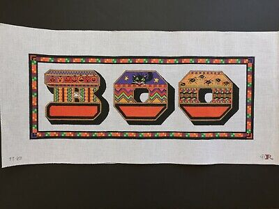 Renaissance Designs Hand-painted Needlepoint Canvas Colorful Halloween Sign/BOO