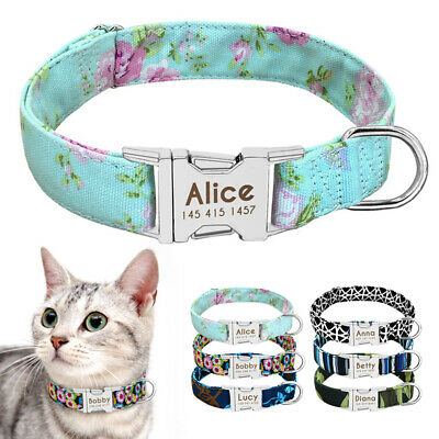 Nylon Dog/Cat Collar Personalized Metal Buckle Customized Engraved Pet ID Name