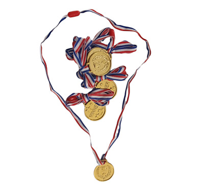 24 x Kids Gold Medals Plastic Winners Childrens Sports Day Winner Party Awards