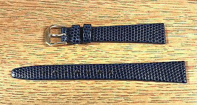 14mm Kreisler Genuine Leather Lizard Grain Ladies Flat Navy Blue Watch Band