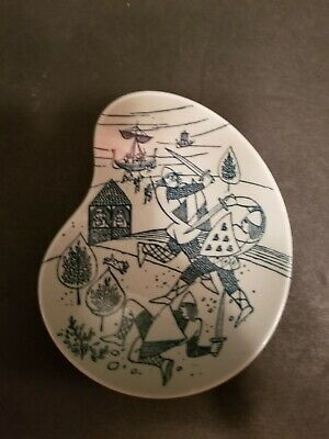 Ltd Edition Nymolle Art Faience Hoyrup Dish Viking & Ship Denmark. Small dish.