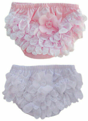 Baby Girls Spanish Romany White Frilly Pants Lace Flower Christening Knickers