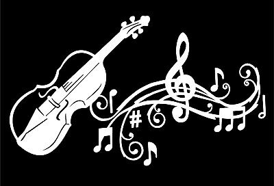 Fiddle Violin Decal Musical Staff Notes Vinyl Car Truck Window Laptop Sticker