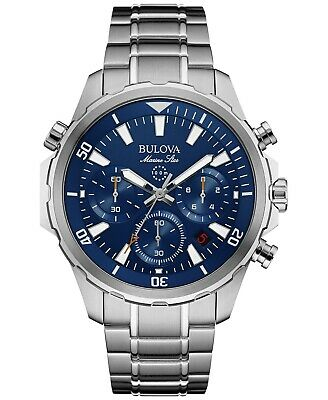 Bulova Marine Star Chronograph Blue Dial Stainless Steel Men's Watch 96B256