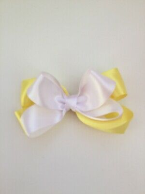 "Wedding Flower Girls School 4"" Girls Yellow Hair Bow Clip Yellow & White Bow"