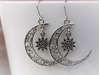 06fded62f Filigree Moon with star Antique Silver Dangle Charm Earrings Wiccan pagan