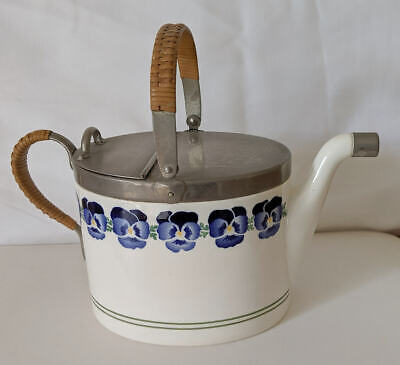 Antique W.m.f. Wachtersbach Keramic  Picnic Teapot With Pattern Of Pansies