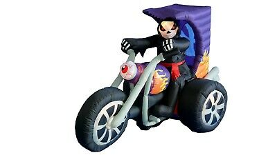 Halloween Air Blown Inflatable Yard Blowup Decoration Grim Reaper on Motorcycle