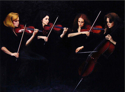 Stunning Oil painting Quartet young women playing violin - portraits on canvas