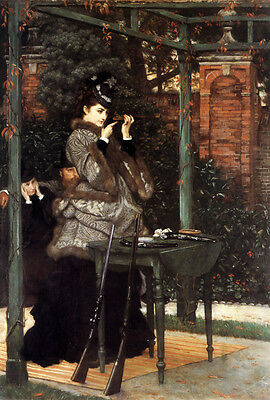 Dream-art Oil painting Tissot - At the Rifle Range Lady play shooting & Rifle