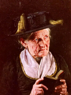 Oil painting carl kronberger Hand painted portrait of woman with book of prayer