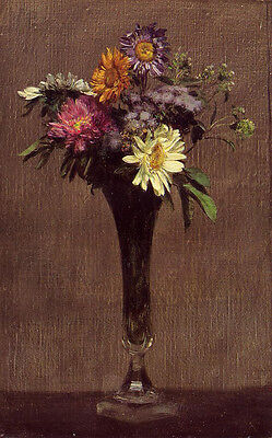 Art beautiful Oil painting Latour - Daisies and Dahlias flowers in glass vase