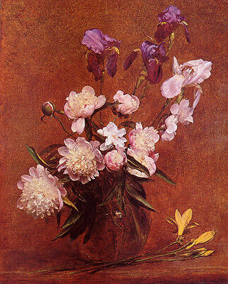 Wonderful art Oil painting Henri Fantin Latour - Bouquet of Peonies and Iris