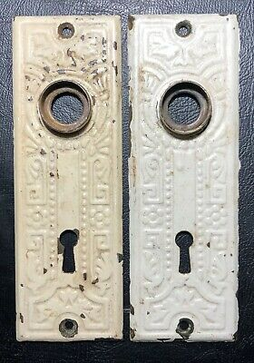 Matching Pair Of Art Deco Art Nouveau Metal Door Knob Back Plates