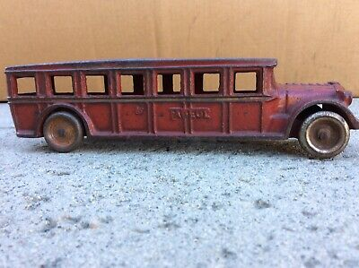 "% Vtg 1920's Cast Iron Arcade Fageol Bus All Original 8"" Long"