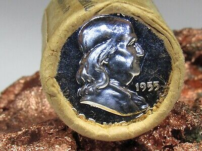 1955 PROOF END/ CAMEO BACK END 1 ROLL SILVER FRANKLIN Half Dollars #HF80