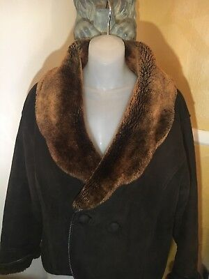 2a6f610d9 Shearling Sheepskin Suede(Paolo Gucci)Coat Brown Sz(67)Large /leather