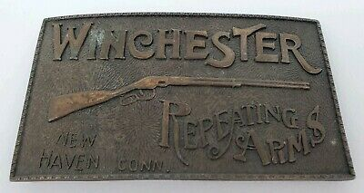 "Vintage Winchester Shotgun Repeating Arms Brass Tone Metal Belt Buckle 4"" Long"