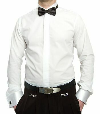 Wedding Dress Shirt Men's Shirt White + Bow Tie Tuxedo Collar