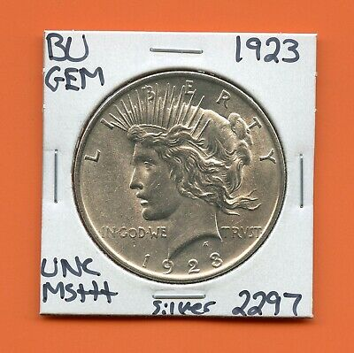 1923 P Bu Gem Peace Silver Dollar Unc Ms+++ U.s. Mint Rare Coin 2297