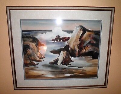 Lovely California Plein Air Impressionism Coastal Seascape Watercolor Painting
