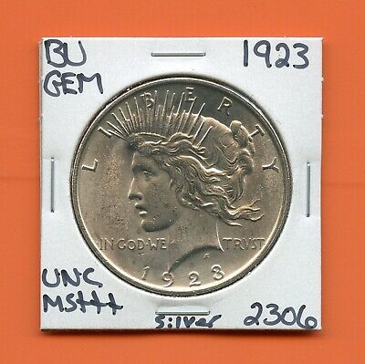 1923 P Bu Gem Peace Silver Dollar Unc Ms+++ U.s. Mint Rare Coin 2306