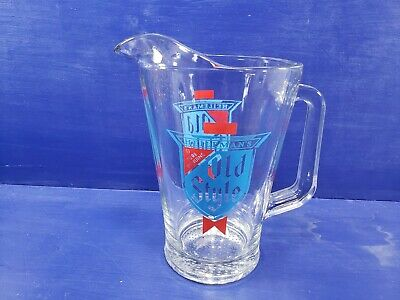 Heileman's Old Style Beer  Heavy Duty Glass Beer Pitcher Vintage