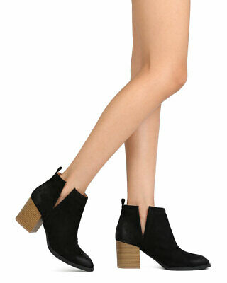 8a6609ed00b New Women Qupid Wilson-02 Faux Suede Pointy Toe Slit Chunky Heel Bootie