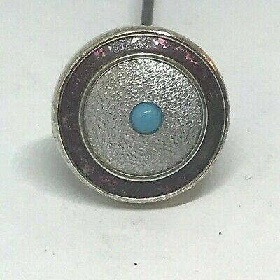 Antique Hat Pin Mulberry Rim, Silver-grey Dome,Turquoise Beauty. Collectible!