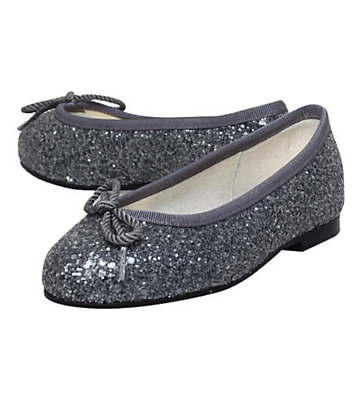 BNIB FRENCH SOLE HENRIETTA BALLET PUMPS - SILVER GLITTER UK 12/Eu31 RRP £100