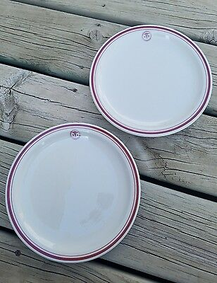 """Two 9"""" TEPCO China USA Mess Hall Restaurant Ware Plate - US Army Med Red Stripe"""