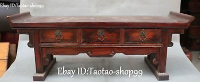 Rosewood Wood Carving Plum Blossom Magpie Writing Desk Book Tea Table Statue
