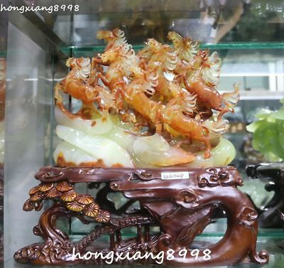 "13"" Unique China Natural Jade Carving Eight Running Horse Horses Animal Statue"