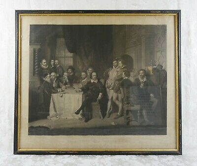 Rare Antique 19th Century Engraving John Faed Shakspeare and His Friends 1859