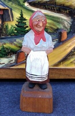 Quebec Statue Canadian Primitive Woman Figurine Wood Carved Vintage PQ