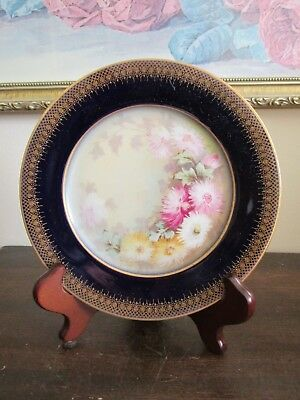 Wm Guerin & Co Limoges France Handpainted Chrysanthemums Cobalt Blue Plate