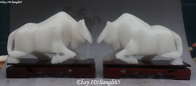 """10"""" Natural White Jade Carving Fengshui Zodiac Cattle Bull Ox Year Animal Pair"""