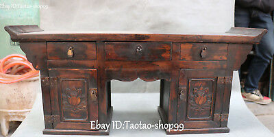 Rosewood Wood Hand Carving Lotus Flower Book Desk Secretaire Table Drawer Statue