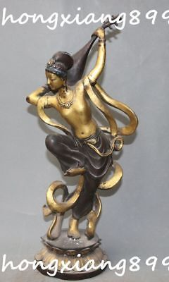 43CM Old Tibetan Bronze Gilt Saraswati Fairy of Wonderful Sound Goddess Statue