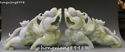 Excellent Natural Green Jade Dragon PiXiu Brave Troops Beast Animal Statue Pair