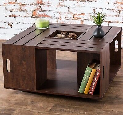 Square Coffee Table Walnut Vintage Crate Style Open Storage Decor Wheels Shelves