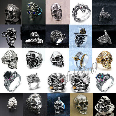 Heavy 316L Stainless Steel Gothic Punk Biker Ring Men Motorcycle Skull Jewelry