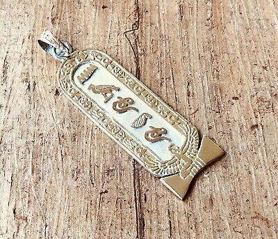 Egyptian  Customized Isis Sterling Silver Cartouche With Gold Frame And Letters