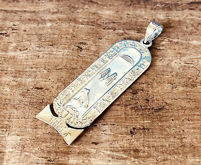 Egyptian Customized Scarab Sterling Silver Cartouche With Gold Frame And Letters