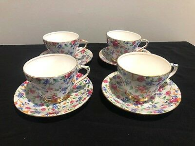 Vintage Royal Winton Grimwades Old Cottage Chintz Cup & Saucer Set of 4! 8 pcs.